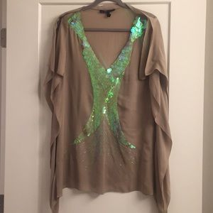 BCBG beige tunic top with clear sequins